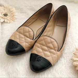 •Tory Burch• Quilted Tan Flats